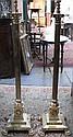 PAIR OF VICTORIAN BRASS COLUMN FORM STANDARD LAMPS