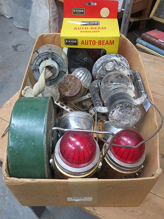 PARCEL OF VARIOUS VINTAGE LAMPS AND OTHER SUNDRIES