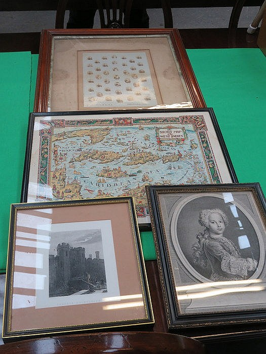 FRAMED MAP OF THE WEST INDIES, MILITARY PHOTOGRAPH AND TWO PRINTS