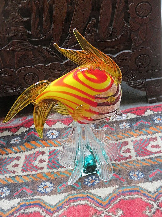 MURANO STYLE COLOURED GLASS FISH, APPROXIMATELY 37cm HIGH