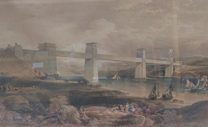 FRAMED POLYCHROME PRINT- THE BRITANNIA TUBULAR OVER BRIDGE OVER THE MENAI S