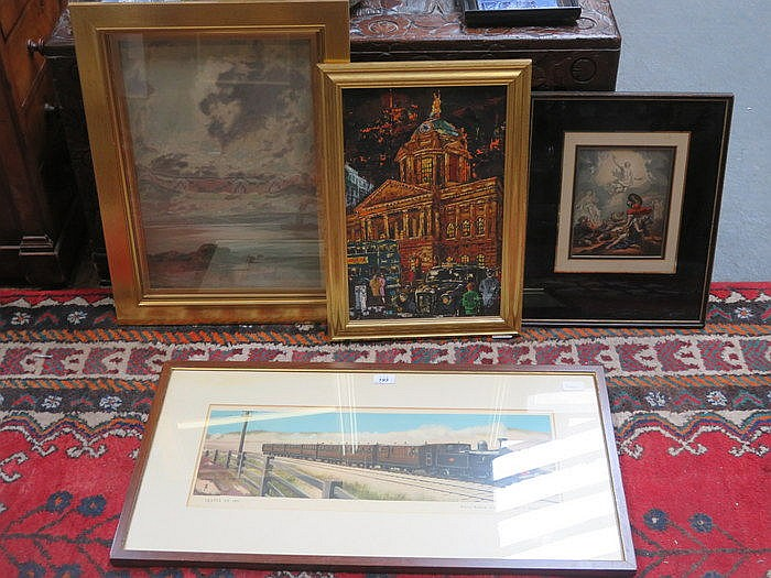 OIL ON BOARD BY BAGNALL, ANOTHER OIL PAINTING AND TWO PRINTS