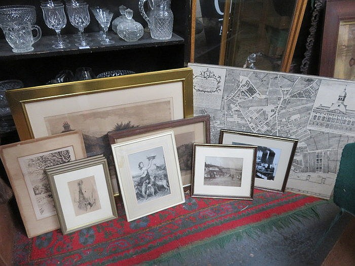 MIXED LOT OF PENCIL SIGNED AND OTHER BLUE AND WHITE PRINTS PLUS MAP OF LIVE