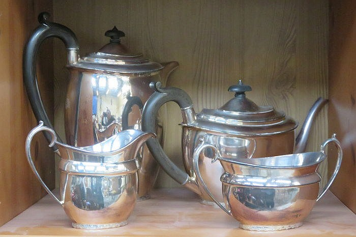 SILVER PLATED FOUR PIECE TEA SET BY WALKER & HALL