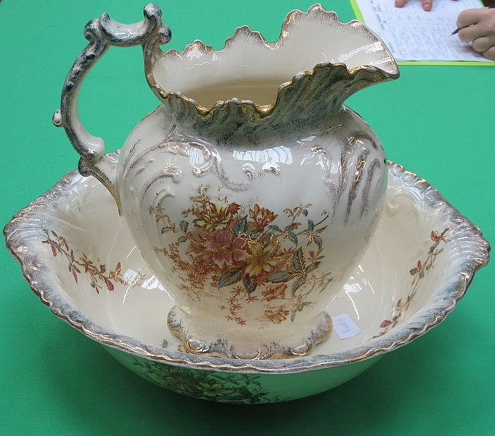 VICTORIAN STYLE FLORAL DECORATED JUG AND BOWL SET