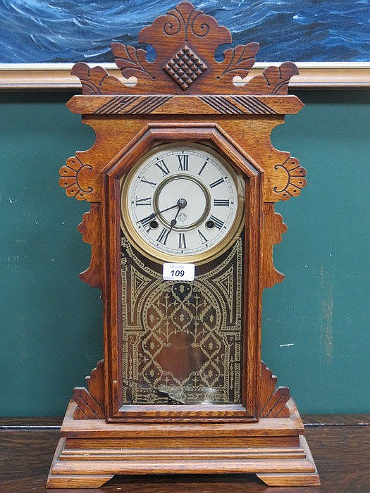 OAK CASED ANSONIA CARVED AMERICAN MANTEL CLOCK, APPROXIMATELY 60cm HIGH