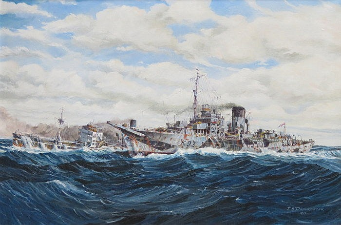 J A DRINKWATER, FRAMED OIL ON CANVAS DEPICTING BATTLESHIPS, APPROXIMATELY 4