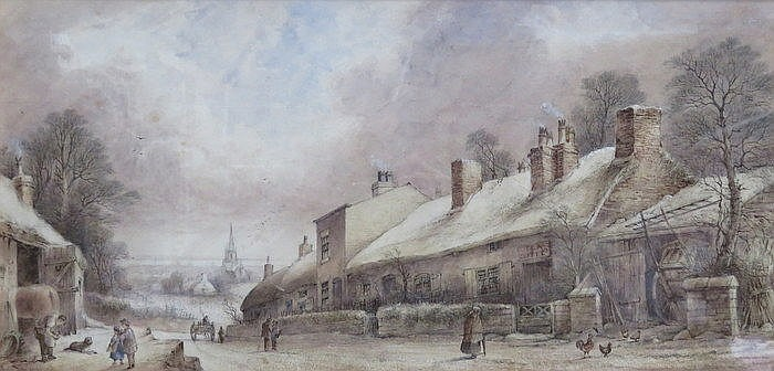 E STANLEY, FRAMED WATERCOLOUR- WELL LANE, HIGHER TRANMERE, 1874, APPROXIMAT