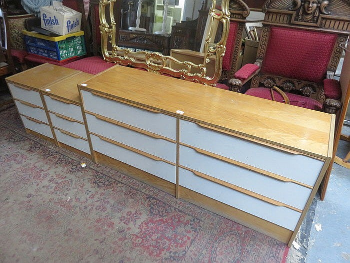 MODERN SIX DRAWER BEDROOM CHEST + PAIR OF MODERN BEDSIDE CHESTS