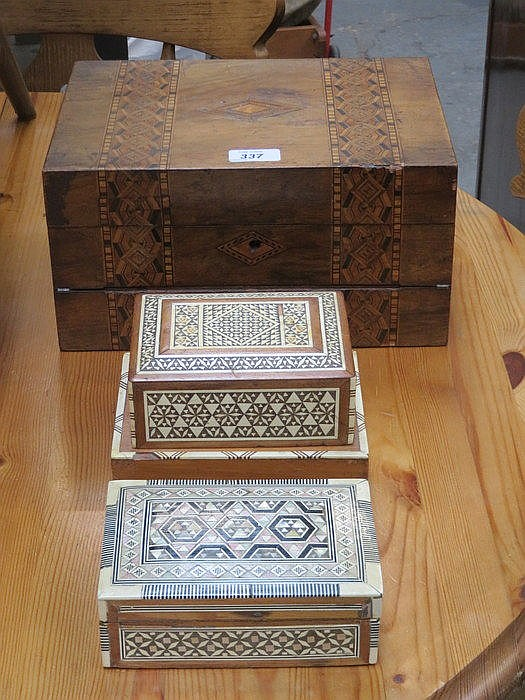 INLAID WRITING SLOPE, STORAGE BOX AND CIGARETTE DISPENSER