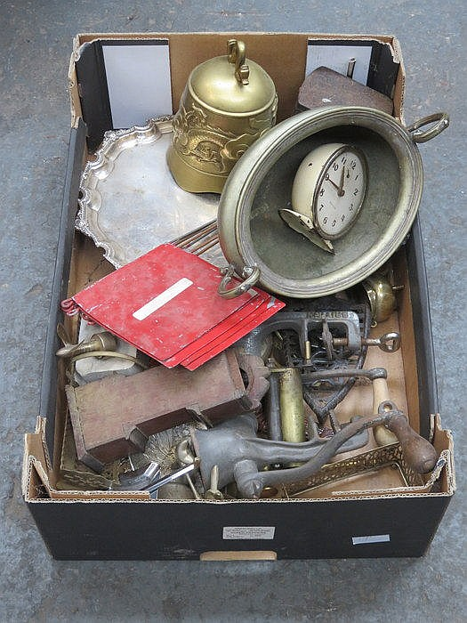 INTERESTING MIX LOT INCLUDING PLATEDWARE, MINCERS AND BRASS BELL, ETC.