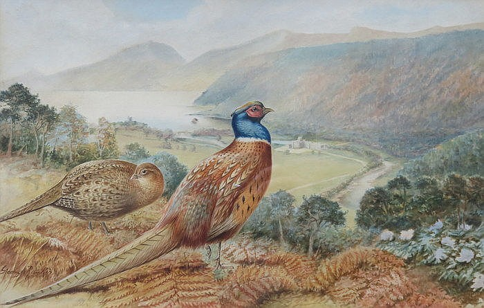 GEORGE RANKIN, FRAMED WATERCOLOUR- A VIEW FROM THE MOORS, APPROXIMATELY 28c