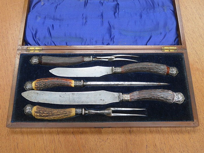 CASED HALLMARKED SILVER BANDED FOUR PIECE CARVING SET BY ISAAC ELLIS & SONS
