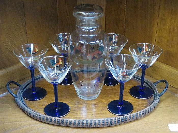 1950s STYLE BLUE STEMMED GLASS COCKTAILS SET AND OVAL TREEN TRAY