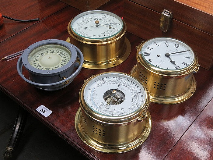 TWO BRASS CASED SHIP'S BAROMETERS AND SIMILAR SHIP'S CLOCK AND ALSO SHIP'S