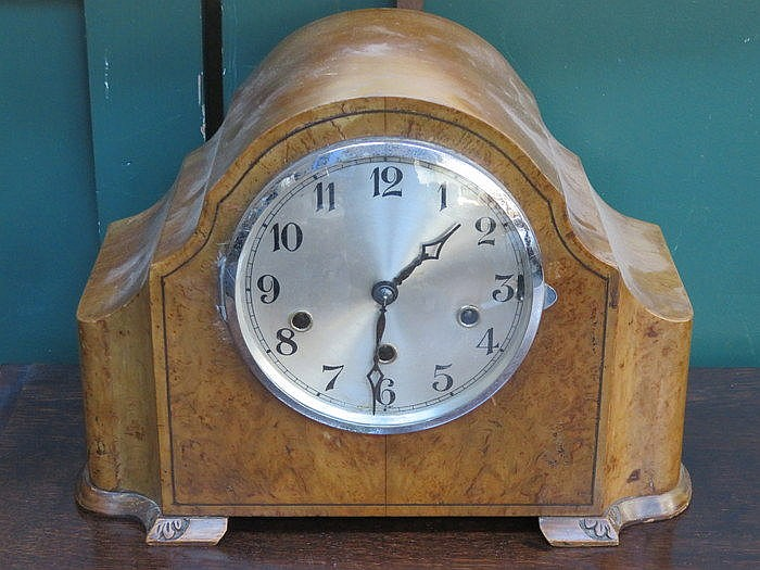 WALNUT CASED WESTMINISTER CHIMED CLOCK