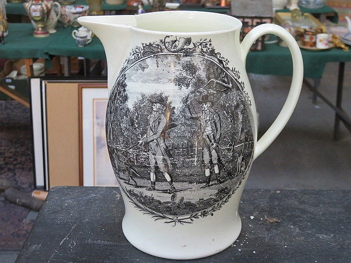 EARLY LIVERPOOL CREAMWARE JUG DEPICTING HUNTSMAN, APPROXIMATELY 22cm HIGH (