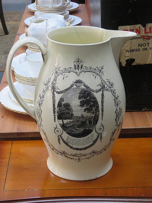 LARGE ANTIQUE LIVERPOOL CREAMWARE JUG WITH TRANSFER DECORATION- AUTUMN AND