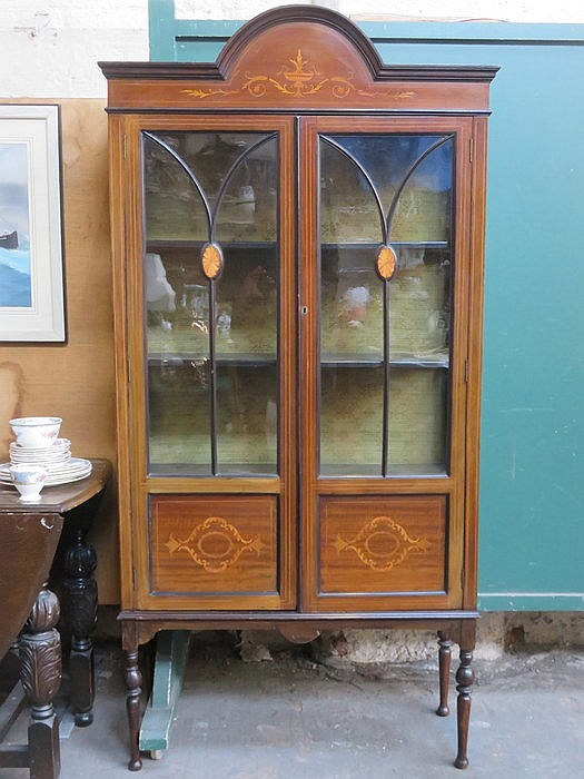 EDWARDIAN MAHOGANY INLAID TWO DOOR GLAZED DISPLAY CABINET