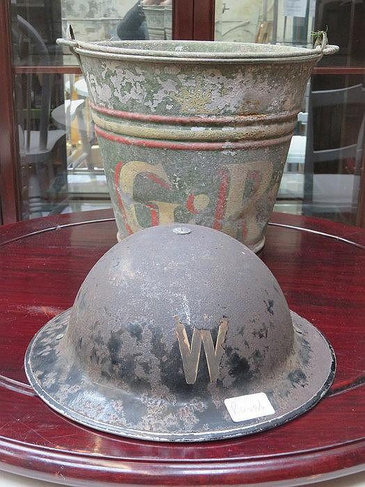 OLD WARDEN HELMET + OLD METAL BUCKET