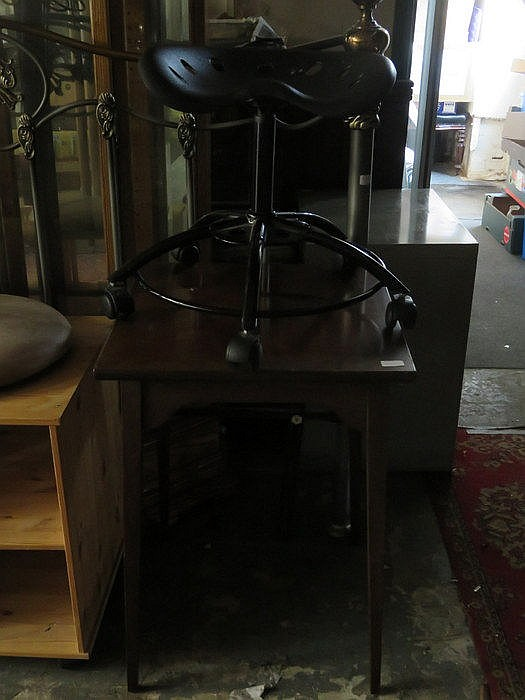 MAHOGANY SQUARE OCCASIONAL TABLE + MODERN STOOL