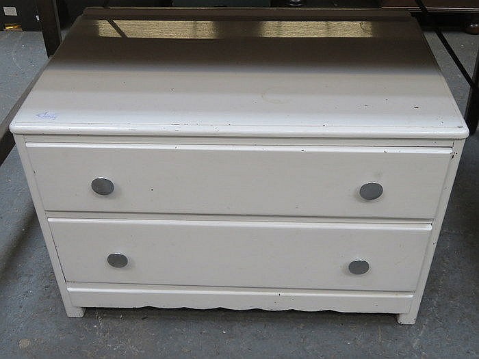 VINTAGE TWO DRAWER CHEST AND OCCASIONAL TABLE