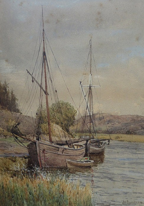 J M SOUTHERN, FRAMED WATERCOLOUR DEPICTING SAILING BOATS ON A RIVERBANK, AP