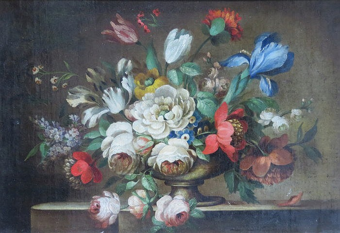 19th CENTURY ENGLISH SCHOOL UNSIGNED STILL LIFE OIL ON CANVAS DEPICTING AN