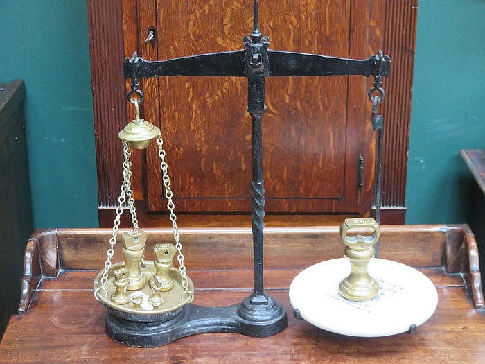 SET OF W & T AVERY CAST IRON SCALES WITH WEIGHTS
