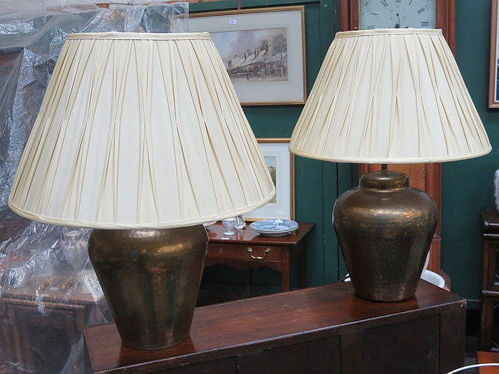 PAIR OF GILDED TABLE LAMPS