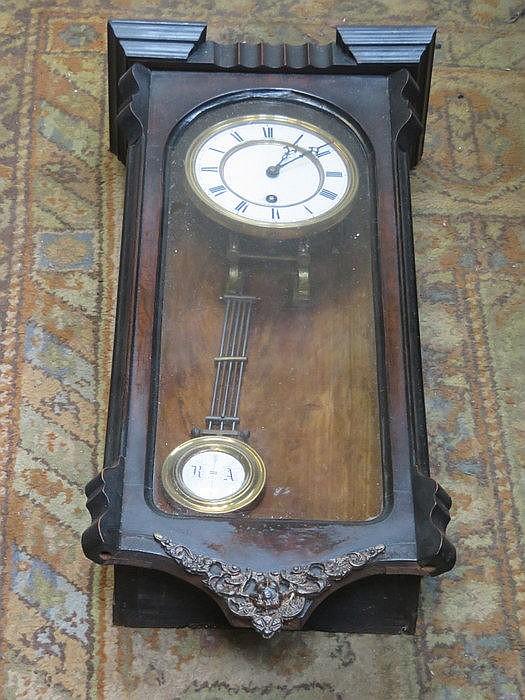 MAHOGANY CASED WALL CLOCK