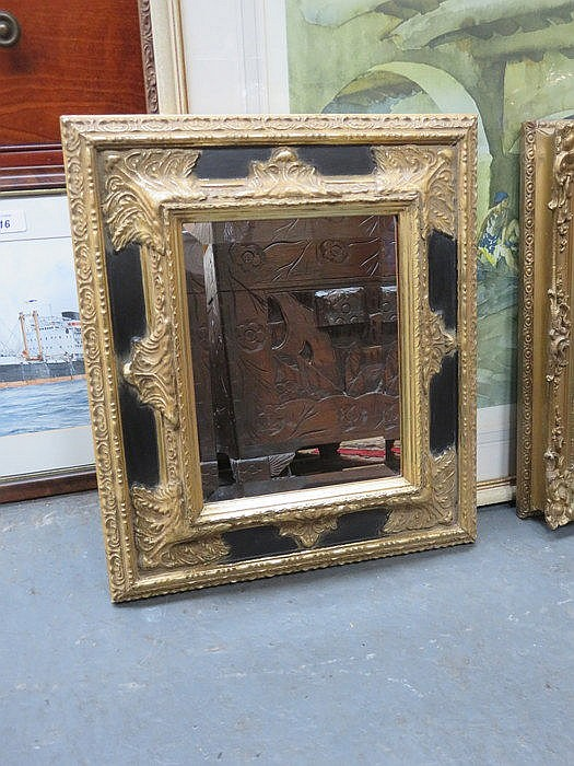 SMALL GILT FRAMED AND BEVELLED WALL MIRROR