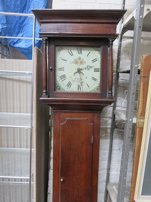 OAK CASED LONGCASE CLOCK WITH HANDPAINTED AND ENAMELLED DIAL, BY W EVANS SH