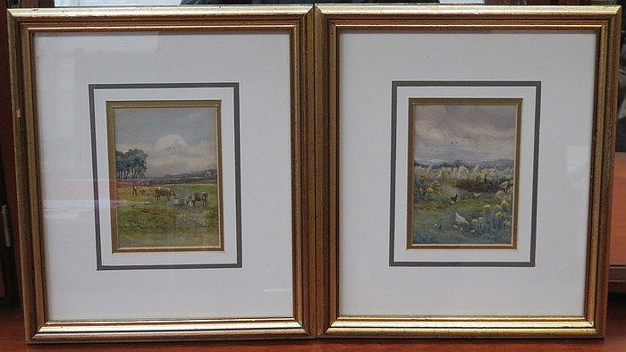 TWO SMALL FRAMED WATERCOLOURS DEPICTING FARM ANIMAL SCENES, APPROXIMATELY 1