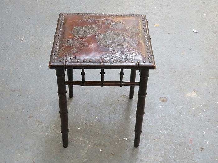 SMALL LEATHER TOPPED BAMBOO EFFECT STOOL WITH FLORAL DECORATION