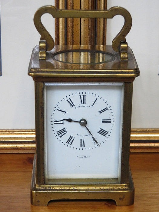 BRASS FRENCH STYLE CARRIAGE CLOCK WITH ENAMELLED DIAL