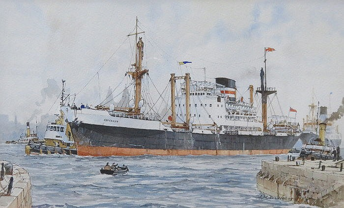 PAIR OF J A DRINKWATER, FRAMED WATERCOLOUR AND INK DRAWINGS DEPICTING SHIPP