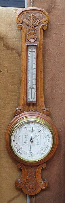 CARVED OAK ANEROID BAROMETER BY ADMIRAL FITZROY