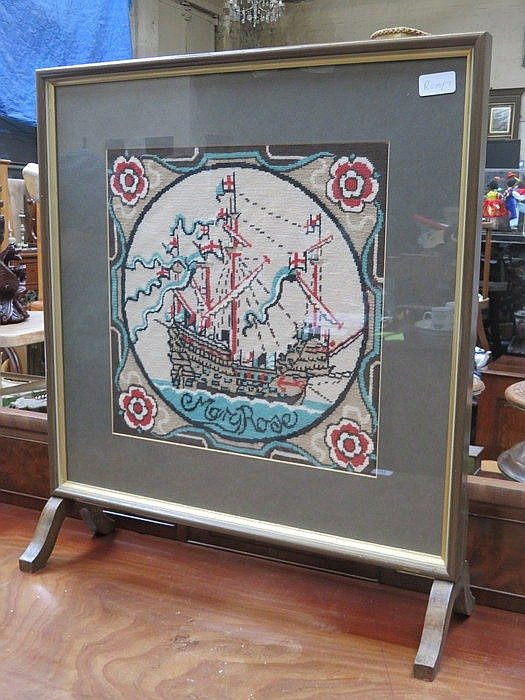 EMBROIDERED FIRE SCREEN DEPICTING THE MARY ROSE