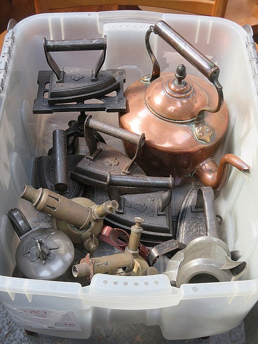 MIXED LOT INCLUDING COPPER KETTLE, FLAT IRONS AND TWO BLOW TORCHES, ETC.