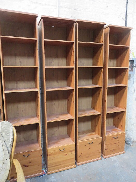 FOUR SETS OF MODERN TALL NARROW PINE SHELVES WITH SINGLES FILING DRAWERS