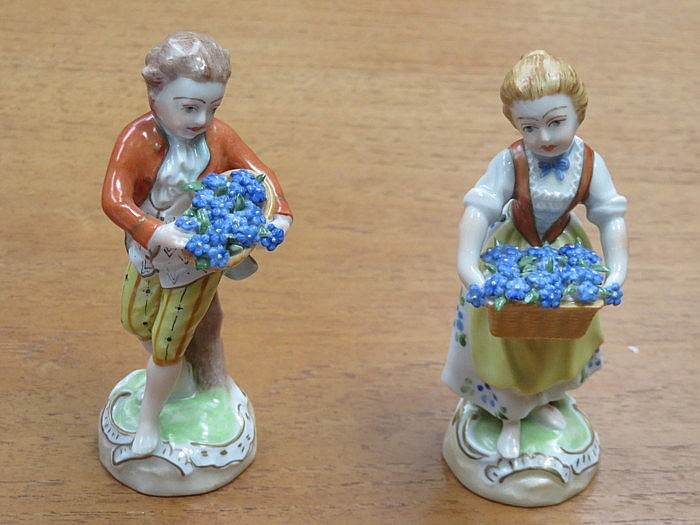 PAIR OF DRESDEN HANDPAINTED AND GILDED CERAMIC FIGURES DEPICTING LADY AND G