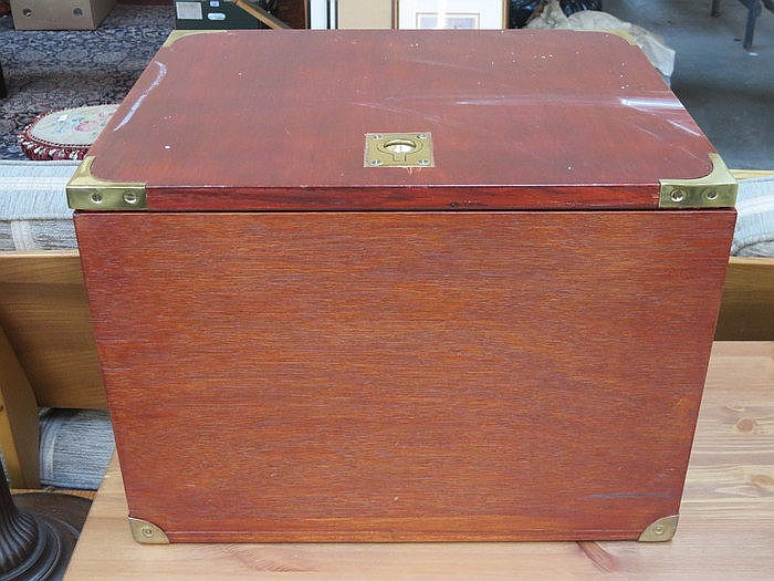 BRASS MOUNTED CAMPAIGN STYLE FILING BOX