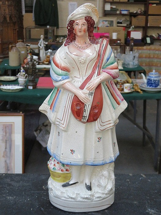 HANDPAINTED ANTIQUE STAFFORDSHIRE FIGURE OF A MUSICIAN, APPROXIMATELY 37cm