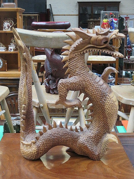 HEAVILY CARVED TREEN CHINESE DRAGON, APPROXIMATELY 43cm HIGH