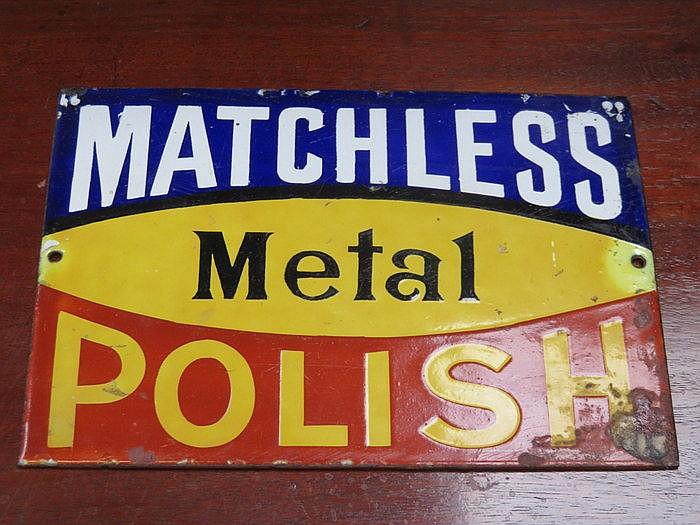 ENAMELLED SIGN- MATCHLESS METAL POLISH