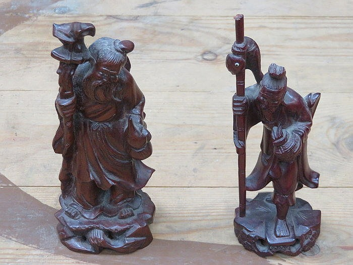 TWO SMALL ORIENTAL TREEN CARVINGS