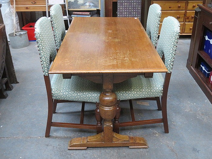 REFECTORY DINING TABLE AND FOUR CHAIRS
