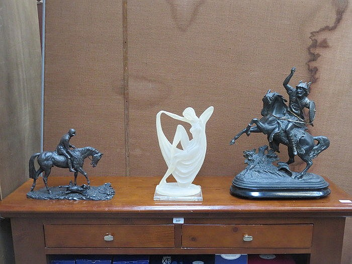 ART DECO STYLE FIGURE AND TWO BRONZE EFFECT HORSE AND RIDER FIGURES