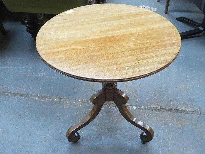 MAHOGANY TRIPOD OCCASIONAL TABLE AND THREE LEGGED TABLE AND STOOL
